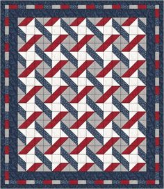 "QUILT PATTERN - Stars & Stripes by Laura's Quilt Lakeside Start w/ 5"" squares. Mark and sew corner to corner=4.5"" squares.Middle blocks=4.5"""