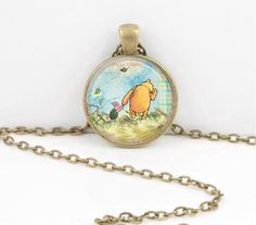 Winnie-the-Pooh classic illustration Pooh and Piglet Pendant Necklace by northstarpendants. Explore more products on http://northstarpendants.etsy.com