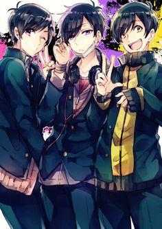 Osomatsu-san- Ichimatsu, Jyushimatsu, and Todomatsu Anime Boys, Manga Boy, Osomatsu San Doujinshi, Otaku, Ichimatsu, Boy Art, Fujoshi, Fandoms, Me Me Me Anime