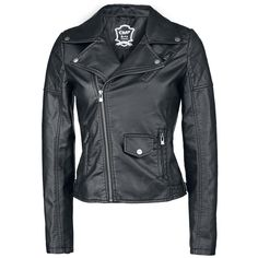 This dishy girls biker jacket of EMP Black Premium has a quilted shoulder part and stylish zippers in the sleeves. The practical pockets of the imitation leather jacket are zipped as well.