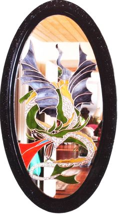 Dragon on old mirror Stained Glass Mirror, Dragon, Dragons