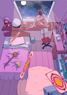 Really cute fanart!🌸 Sakura's room honestly looks very cute! Cardcaptor Sakura, Kero Sakura, Syaoran, Aesthetic Art, Aesthetic Anime, Card Captor, Clear Card, Kawaii Wallpaper, Anime Scenery