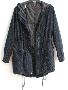 Navy Hooded Long Sleeve Polka Dot Zipper Cotton Blends Outerwear