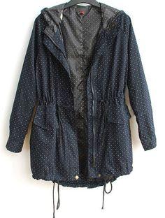 Navy Hooded Long Sleeve Polka Dot Zipper Cotton Blends Outerwear - Sheinside.com