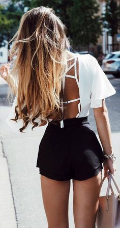 casual style obsession black shorts + white blouse