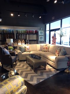 Spring  transitional- chevron, grey and white with pops of color