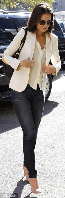 white blazers and skinnies... are those Level 99 denim on Katie Holmes? We think so!