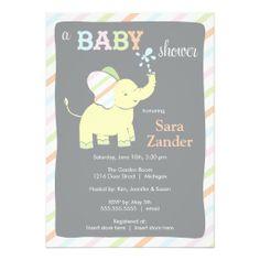 Neutral Elephant  |  Baby Shower Invitation