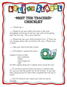 Meet the Teacher Checklist