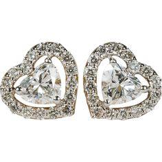 Heart Diamond Earrings 10k Gold Screw Back Stud Heart Halo Diamond Earrings found at www.rubylane.com @rubylanecom