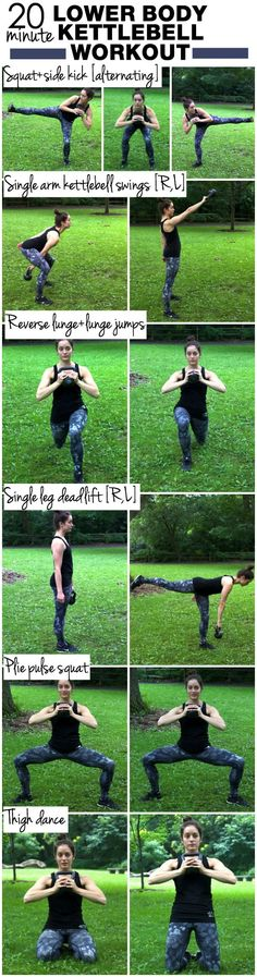 20 Minute Lower Body Kettlebell Workout | Complete each move for 30 seconds before moving onto the next | #kettlebell | thealmondeater.com