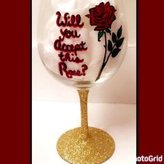 Hand painted Bachelor wine glass #etsy #reevesdesignart #bachelor #thebachelor #rose #handpainted