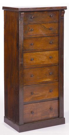 A 19TH CENTURY ROSEWOOD WELLINGTON CHEST OF DRAWERS  the rectangular top above seven graduated on a square plinth base