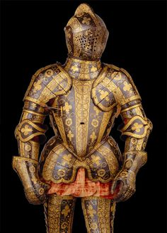 """Armor of George Clifford, Third Earl of Cumberland - c. 1585  """"George Clifford (1558–1605) was appointed Queen's Champion in 1590 and was made a Knight of the Garter two years later. He is best remembered for his capture of the Spanish fort in San Juan, Puerto Rico, in 1598. A favorite of Queen Elizabeth I (r. 1558–1603), he chose for the decoration of this armor the Tudor rose, the French fleur-de-lis (then part of the English arms), and the cipher of Elizabeth, two E's back to back."""""""