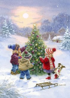 Christmas Scenery, Christmas Artwork, Noel Christmas, Christmas Paintings, Vintage Christmas Cards, Christmas Wallpaper, Christmas Pictures, Winter Christmas, Christmas Crafts
