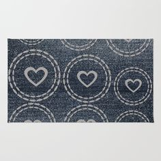 Cool Blue Denim Silver Hearts Pattern Rug, from $28.00, pick matching pillow, duvet, towels!