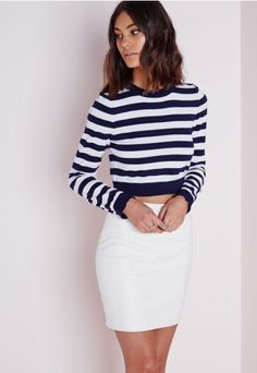 Striped Cropped Jumper Navy - Knitwear - Missguided