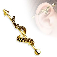 Gold Octapus Tentacle Industrial Barbell 14ga Surgical Steel Body Jewelry Piercing Jewelry