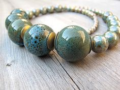Single Strand Necklace Peacock Ceramic Beads with by DarkRide, 44.00