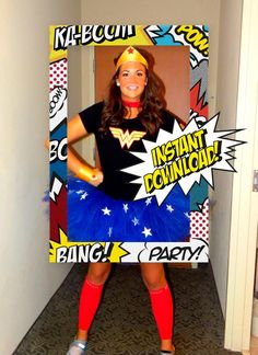 49 Magnificient Diy Superhero Theme Design Ideas To Try In Your Home - Everyone has a superhero dream inside. This is why superhero themed parties are favorite options when it comes to celebrations. With capes, masks and . Photos Booth, Photo Booth Frame, Photo Booth Props, Superhero Photo Booth, Wonder Woman Birthday, Wonder Woman Party, Birthday Party Themes, Boy Birthday, Birthday Woman