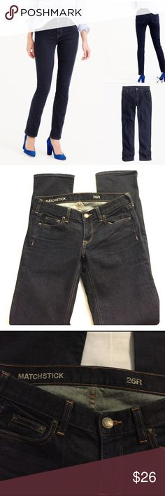 """J. Crew Matchstick Jeans J. Crew Matchstick straight leg jeans in classic rinse. Slim fit without being skin tight. Size 26/2. Perfect, like new 10/10 condition. These retail for $115. Don't pay full price. Get them here!                                                        Sits above hip. High rise. Fitted through hip and thigh, with a straight leg. Front rise: 9 1/4"""". 31"""" inseam. 13 3/4"""" leg opening (based on size 28). J. Crew Jeans Straight Leg"""