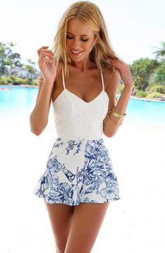 White Floral Print Lace Crochet Romper