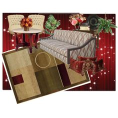 red living room by pwejones on Polyvore featuring polyvore fashion style Sphinx by Oriental Weavers Melissa PLANT Post Card living room