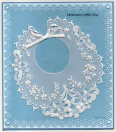 By Carolyn C.   Parchment Craft White Work Baby card.