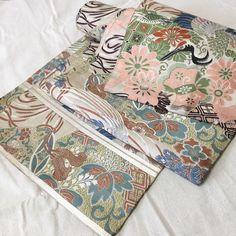 Crane & Hand Drum Pattern Fukuro Obi, Kimono Belt, Table Runner, Wall Hangings, Craft Suplies, 1930s, FREE SHIPPING by JapaneseBOROshop on Etsy https://www.etsy.com/listing/249800792/crane-hand-drum-pattern-fukuro-obi