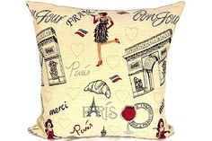 Paris Embroidery Pillow Cover French Jacquard Cushion Cover