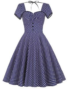 Popular Retro Vintage Short-Sleeve Polka Dot Print 50's Style Full Skirt Cotton Dress 3 Colors S-XL