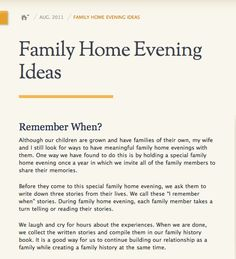 Family Home Evening Idea For Families Who Are Spread Out August 2011 Ensign