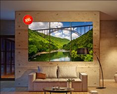 The New River Gorge Bridge, West Virginia Large wall art canvas print fine art 3 / 5 panels wall decoration