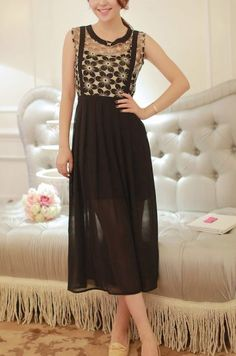 Black Sleeveless Lace Pleated Chiffon Long Dress pictures
