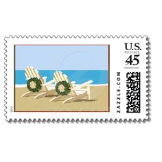 Beachy Christmas! Beach Chairs & Wreaths Postage from Zazzle.com