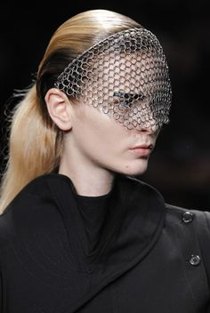 Chain-mail veils at Ann Demeulemeester.