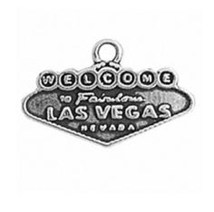 Sterling Silver Two Sided WELCOME TO LAS VEGAS Sign Vacation Tour Word Charm Bead For Bead Bracelet. 925 Sterling Silver Jewelry. Fits Most Bead Charm Bracelets Including Pandora 5.8mm Inner Diameter Of Bead. Made In The USA!.