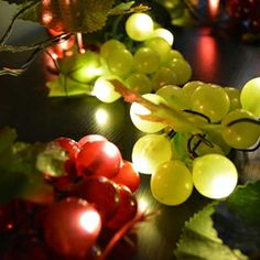 Grape String Lights, 8 Clusters of Red and Green, 120 LEDs, Plug In