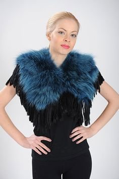 Blue and Black collar of Coyote and Fringe Rabbit fur. Available for wholesale orders.