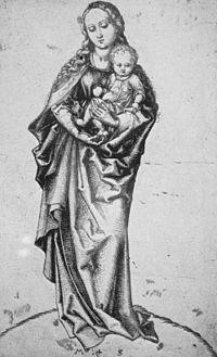 Martin Schongauer - Die stehende Madonna mit dem Apfel