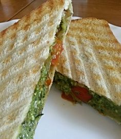 Courgette, tomato and pesto grilled sandwich