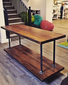 Tv display, display ideas, craft show displays, industrial sofa table, rust Pipe Furniture, Industrial Furniture, Furniture Plans, Rustic Industrial, Resale Furniture, Furniture Nyc, Furniture Websites, Furniture Dolly, Furniture Outlet
