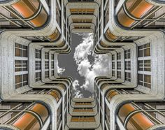 "An apocalypic version of ""Clouds Overhead"" depicting the Shell-haus in Berlin Stunning Photography, Art Photography, Hypnotize Yourself, Berlin, Line Photo, Orange, Photo Contest, Looking Up, Great Photos"