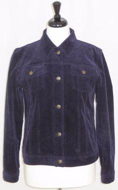 Ralph Lauren Jeans Purple Stretch Corduroy Jean Jacket Womens M #RalphLauren #JeanJacket #Casual