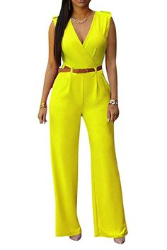 2c3b2c7170 Pamelas Women s Summer Sexy Casual Pure Color Tunic Wide Leg V Neck  Sleeveless Long Party Jumpsuit Romper 10 XS