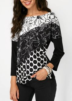 Boat Neck Flower and Polka Dot Print Blouse Casual Tops For Women, Blouses For Women, Western Dresses Online, Polka Dot Print, Printed Blouse, Black Blouse, Shirt Blouses, Boat Neck, Quarter Sleeve