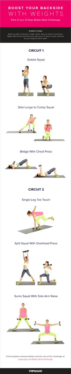 Better-Butt Challenge Day 15: This quick and effective workout will build butt muscle while working your entire body. Adding dumbbells means extra work for your glutes, and that extra work is what builds the muscle