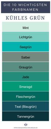Kühle Grüntöne sind Mint, Lichtgrün, Seegrün, Salbei, Graugrün, Jade, Smaragd, Flaschengrün, Teal, Tannengrün.