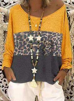 [£ Color Block Leopard One-Shoulder Long Sleeves Casual T-shirts - VeryVoga Animal Print Fashion, Fashion Prints, Casual T Shirts, Tee Shirts, Yellow T Shirt, Designer Kurtis, T Shirt Diy, Stylish Outfits, Stylish Clothes
