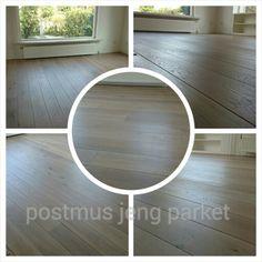 Eiken houten vloer afgewerkt met Monocoat Sky Grey